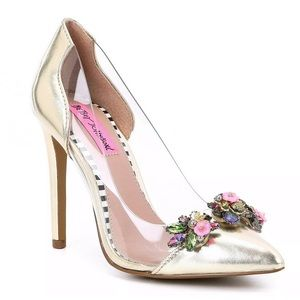 Betsey Johnson Jane Gold Embellished Heels